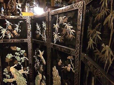 Beautiful Old Black Laquer Chinese Peacock Screen Divider Pearl Inlay Shipping👍