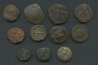 11 Ancient Coins - Byzantine, Roman, Greek - Bronze/Copper