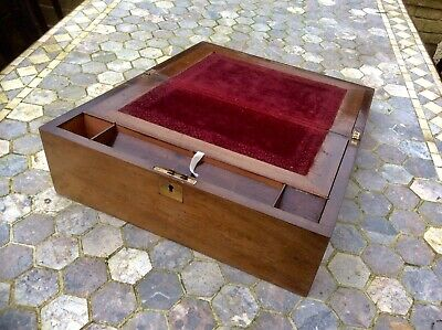 Antique Victorian Writing Slope,Wood Jewellery Box,Trinket Case Upcycle,Lock,Old