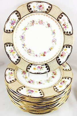 Set(S) 6 Hand Painted Dinner Plate Hammersley China 7334 Gold Cobalt Pink Flower