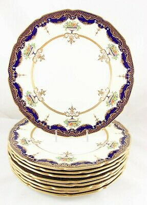 Hand Painted Set 9 Dinner Plates Robert Allen Doulton Ra9991 Gold Paste Jeweled
