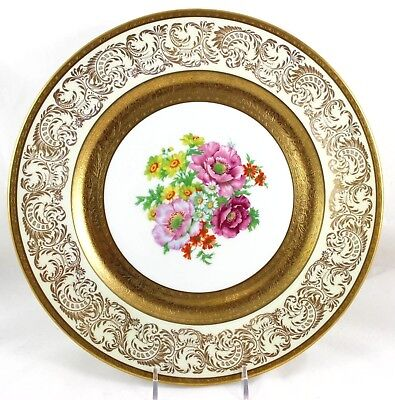 Set 4 Dinner Plates Chargers Wheeling Decorating Raised Gold Encrusted Flowers
