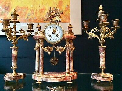 19th Century Antique French Ormolu and Red Marble Portico Clock