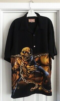 Dragfly Clothing Men's Vintage Iron Maiden Button Up Polyester Shirt Size Xl Men