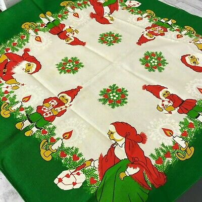 Swedish Vintage Christmas Tablecloth Santa Claus Tomte Nisse Heart Candles Gifts