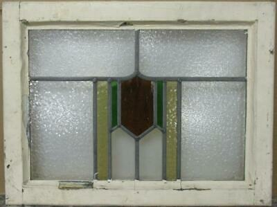 "MIDSIZE OLD ENGLISH LEADED STAINED GLASS WINDOW Pretty Geometric 23.25"" x 17.5"""