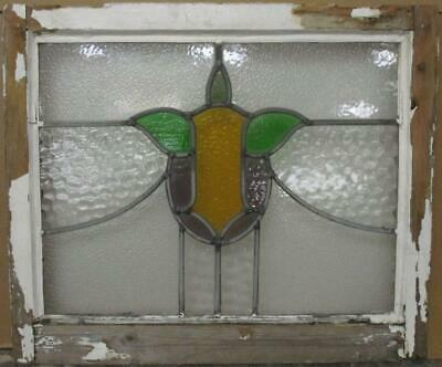 "MIDSIZE OLD ENGLISH LEADED STAINED GLASS WINDOW Abstract Sweep 24.5"" x 20.75"""