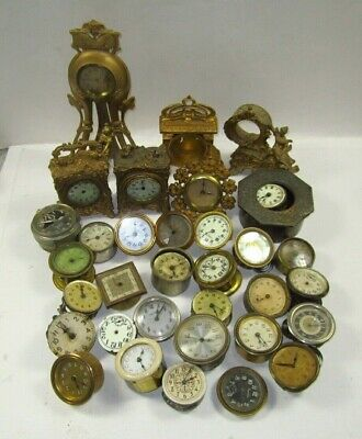 """Antique Lot of 15# of 2"""" Clock Movements and Gilt Clock Housings for PARTS"""