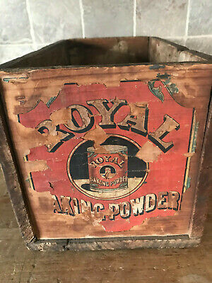 Antique Royal Baking Powder Wood Crate Box Kitchen Advertising Collectible
