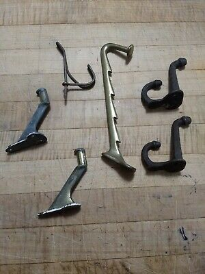 Lot of 6 Vintage Brass and Cast Iron metal Coat Hooks