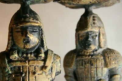 Antique Japanese Warrior Spear Head Candle Holders Extremely Heavy NO RESERVE