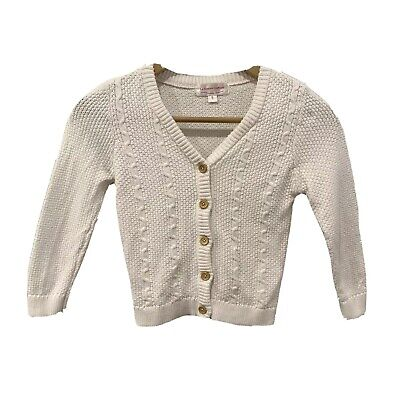 La Sienna Couture Girls Knit Jumper Cardigan Jacket SIZE  5 - Off White EXC COND