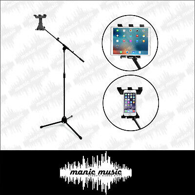 Tablet Tripod Floor Stand + Boom  360° Universal Clamp Mount Holder iPad Android
