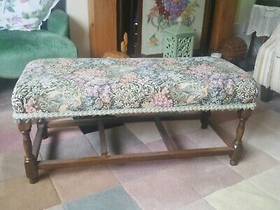 "Vintage Long Stool Floral Tapestry Topped Foot Stool Rest Bench 30"" x 12"" x 13"""