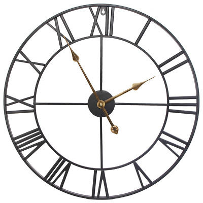 SEJU Large Metal Skeleton Wall Clock with Roman Numerals, Silent Non ticking for