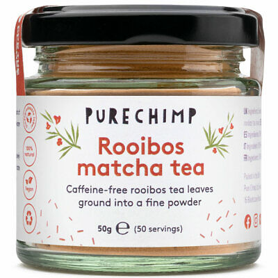 Rooibos Matcha Powder (Caffeine-Free) 50g by PureChimp - Recyclable Glass Jar