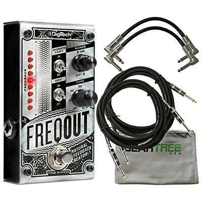 Digitech FreqOut Guitar Effects Pedal w/2 Path Cables for Guitars, Cable Cloth
