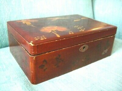 Antique Chinese Laquered Jewellery Box ~ dated 1924