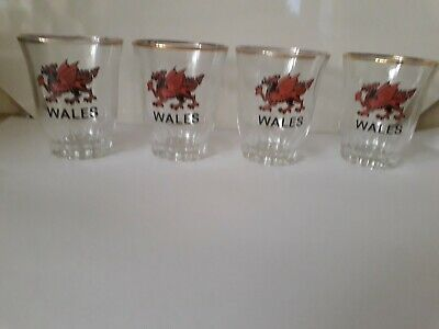 4 Vintage Wales Shot Glasses With Welsh Dragon's.