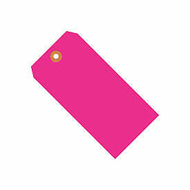 """#8 Pink Fluorescent Tag Pack 6-1/4"""" x 3-1/8"""" - 1000 Pack G12081E  - 1 Each"""
