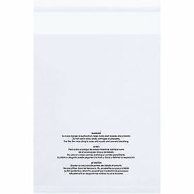 "Resealable Suffocation Warning Poly Bags with Vent Holes, 14""W x 20""L 1.5 Mil"