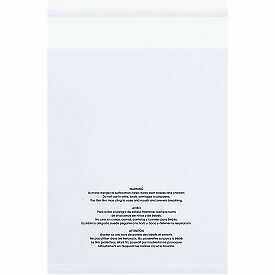 "Resealable Suffocation Warning Poly Bags, 9""W x 12""L 1.5 Mil Clear - 1,000 Pack"