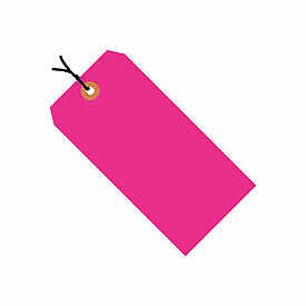 """#5 Pink Fluorescent Wired Tag Pack 4-3/4"""" x 2-3/8"""" - 1000 Pack G12053E  - 1 Each"""