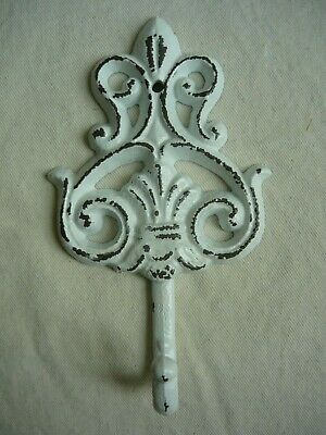 SHABBY CHIC Cast Iron Large WALL HOOK Distressed WHITE Fleur de lis French DECOR