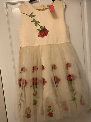 New With Tag Girls Cream Floral Net Dress Party Wedding Bridesmaid Age 13-14Yrs