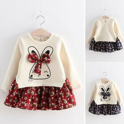 Toddler Child Kids Cartoon Baby Girl Winter Bunny Floral Long Sleeve Party Dress