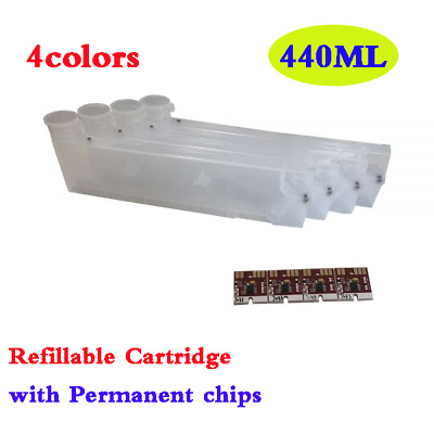 4colors 440ML Refillable Cartridge with Permanent Chips for Mimaki SS21 CMYK