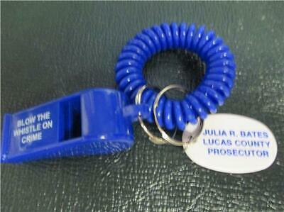 "Vtg Bell Telephone Promo Ad Whistle Keychain ""Blow The Whistle On Crime"""