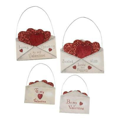 """Bethany Lowe Valentine Envelope with Red Glitter Hearts 3.25"""" Ornaments Set of 4"""