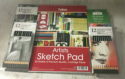 Large Art Kit Draw Pad Charcoal Watercolour Pencils Draw Create Supplies Sketch