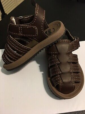 Boys Osh Kosh B'gosh Burly B Toddler Brown Machine Washable Sandals Size 3 EUC!