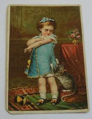 antique VICTORIAN TRADE CARD Toddler and CAT Naughty Puss JAYNE'S TONIC