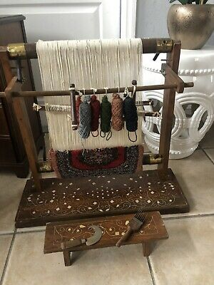 Vintage Wooden Table Weaving Loom