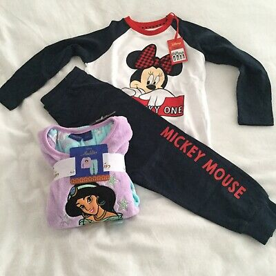 2 Pairs Primark Pyjamas Pj's Girls Age 3-4 1 X Fleece 1 X Cotton BNWT