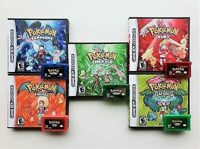 Pokemon Leaf Green Fire Red Ruby Sapphire Emerald Repro Box Case Gameboy GBA USA