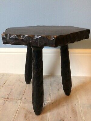 Vintage Three Legged Small Wooden Rustic Wooden Milking Stool