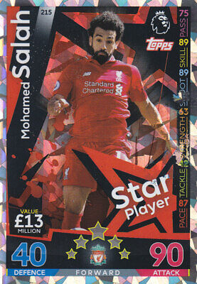 TOPPS MATCH ATTAX PL 2018-19 - Mohamed Salah - Liverpool - # 215 - STAR PLAYER