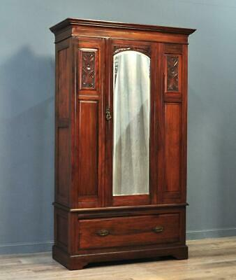 Attractive Large Antique Carved Walnut Mirror Door Wardrobe With Drawer Base