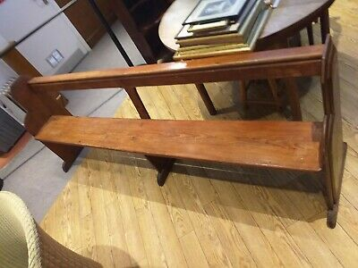 Antique pine church chapel bench pew LONG HALL BENCHES school GOTHIC ENDS C.1860