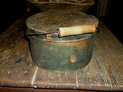 Antique Wood Wire Bail Handle Pantry Box Old Green Paint AAFA