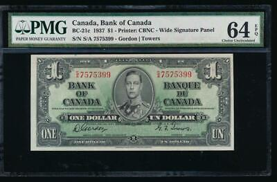 AC BC-21c Bank of Canada 1937 $1 PMG 64 EPQ S/A block