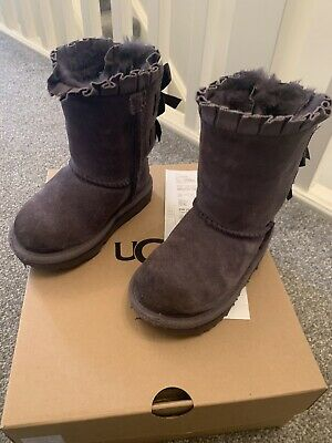 Girls Grey Bailey Bow Uggs Size 7 Junior