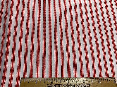 Vintage Cotton Fabric 40s50s Red & White Printed Ticking Stripe 36w 1yd