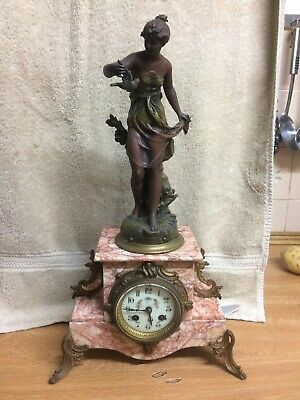 Antique French spelter And Marble Figural Mantel Clock C1900