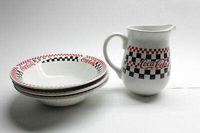 Coca-Cola Gibson Racing Flag Set of 3 Large Plates and Pitcher 1996