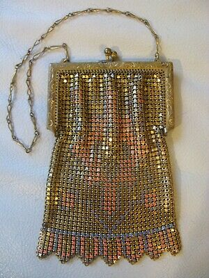 Antique Art Deco Bright Gold Blue Orange Enamel Chain Mail Mesh Purse